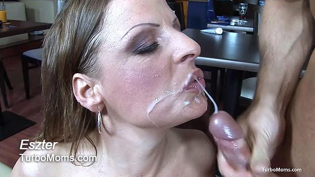 Hungarian mature receives a messy facial